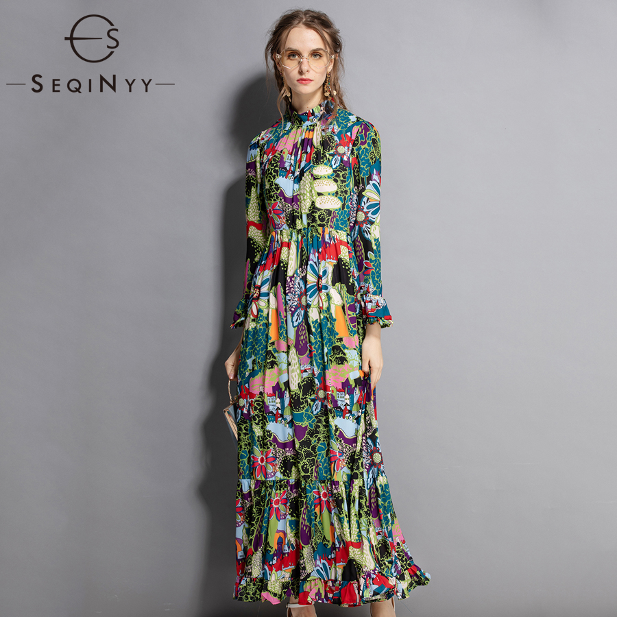 SEQINYY Printed Elegant Dress 2018 Early Autumn Women's Retro Flare Sleeve Draped A line Green Flowers XXL Loose Long Dress-in Dresses from Women's Clothing    1