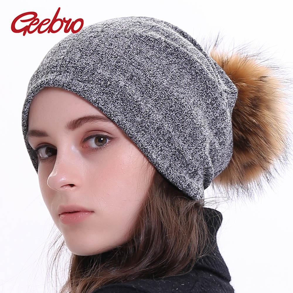 Geebro Autumn Women's Bonnet   Beanies   With Raccoon Fur Pompom Winter Cotton Solid Stripe Hats For Ladies   Skullies     Beanie   Cap