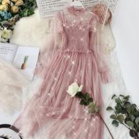 HISUMA 2019 spring new women O neck puff sleeve sequined ruffles mesh fairy dress female elegant shiny dresses two piece set