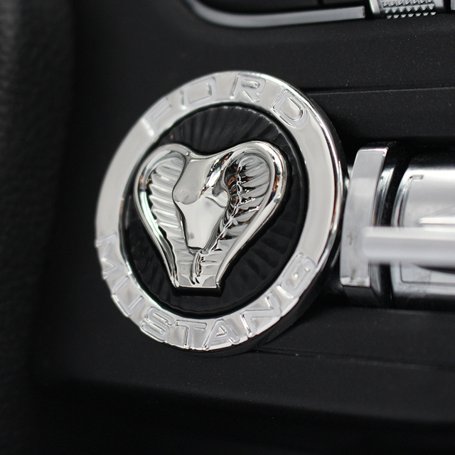 QHCP Car Engine Start/Stop Switch Button Cover Trim Keyless Cobra Cover Interior Moulding for Ford Mustang 2015+ Free Shipping
