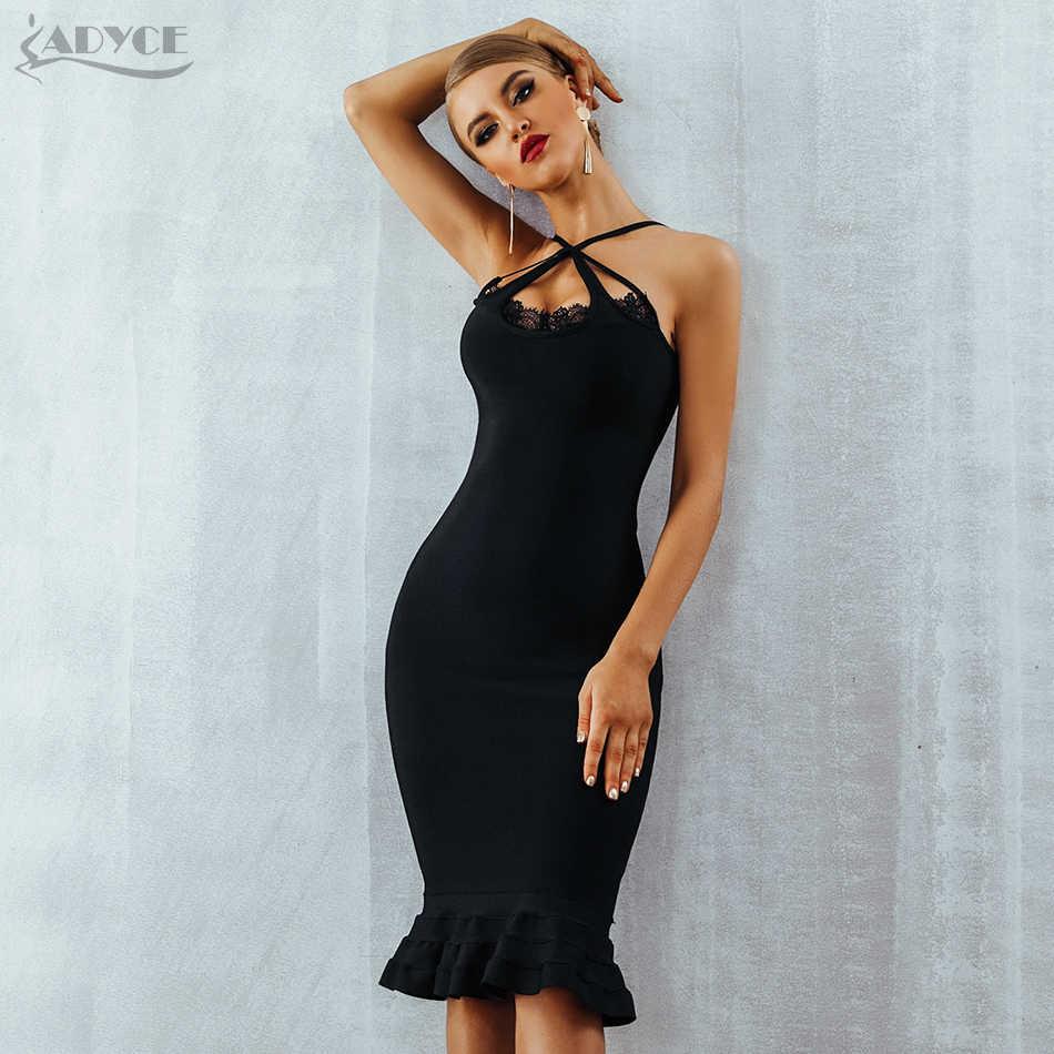 420cc5df27b Adyce женское летнее черное кружевное Бандажное платье Vestidos Verano 2019  бретелька Русалка v-образный вырез