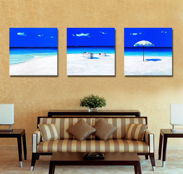 3 Panel Panel Modern Printed Blue Beach Seascapes Paintings Wall Art Home Decor Sea Paintings For Living Room(No Frame) BJQ1056
