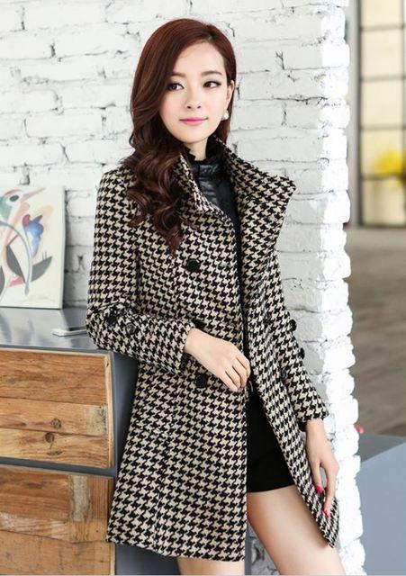 2016 de la moda abrigo de invierno las mujeres chaqueta delgada de pecho doble abrigos de cuello plaid coat mujeres abrigo chaquetas mujer jaqueta feminina