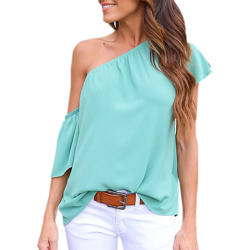 European Summer Tops 2017 Women Blouses Casual One Shoulder Feminino Blusas Women Clothing Solid Top Female Office Shirts GV646