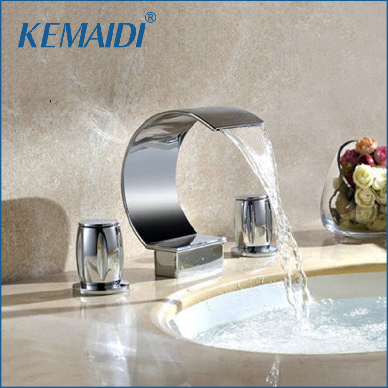 KEMAIDI Bathroom Tap 3 Pcs Set flush Cold& Hot Water Mixer Taps Bathroom Faucet Bathroom Basin Faucet Deck Mounted Washbasin led waterfall bathroom basin faucet deck mounted washbasin bathroom tap 5 pcs set flush cold and hot water mixer taps