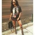 Novo 2016 moda Quente do Verão As Mulheres Lobo 3D Impresso Rendas Até T camisas Harajuku Casual Solto Oco Out Clube Do Partido do Dia Das Bruxas Tshirt S-XL