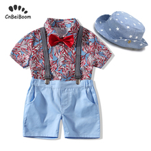 Baby boy Clothes Sets summer beach flower shirt Tops+short pant+hat clothing suits newborn infant Kids boys Clothes 1 2 3 year cheap Print REGULAR Fashion Fits true to size take your normal size Single Breasted Broadcloth CNBEIBOOM Turn-down Collar cotton