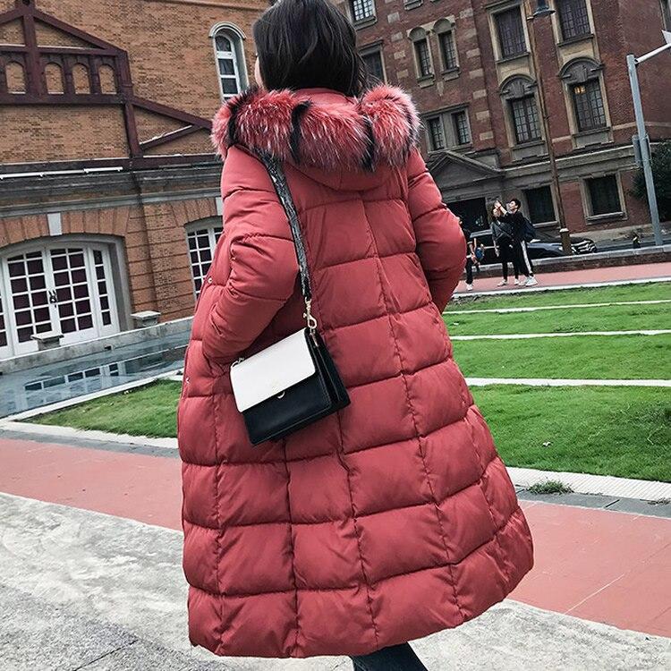 Manteau De Plus Parka 4xl Green Fourrure Taille New gray Veste Black Épaississement Bas Vers Mode D'hiver Chaud La 2018 white army Femmes red Longueur Real Le Grand nTCRA6q8YS