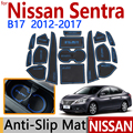 for Nissan Sentra 2016 2017 facelift Anti-Slip Rubber Cup Cushion Door Mat 19Pcs/Set Nismo Accessories Car Styling Sticker
