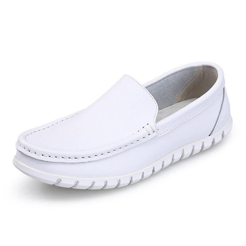 Confortable Véritable De Pur Respirant Casual Cuir Quatre Chaussures Split Blanc Nouveau En Mode Wom Beyarne Souple Saisons Couture Infirmière Sv0aqw