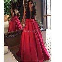 2020 Newest Neckline Scoop Black Red Evening Dresses Sleeveless Open Back Long Prom Evening Dresses Custom