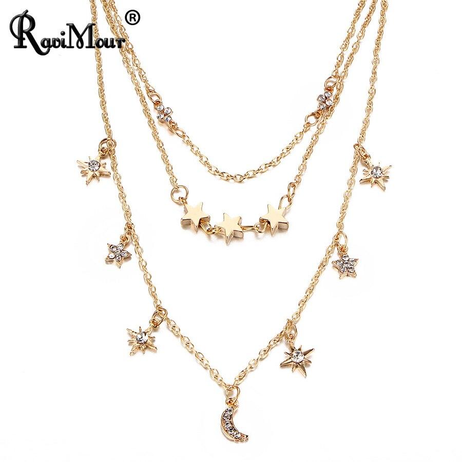 5c5e533f2b92 Ravimour Boho woomen gargantilla collar cadena multilayer estrella Luna  cristal colgante kolye Maxi bohemio collares joyería Accesorios