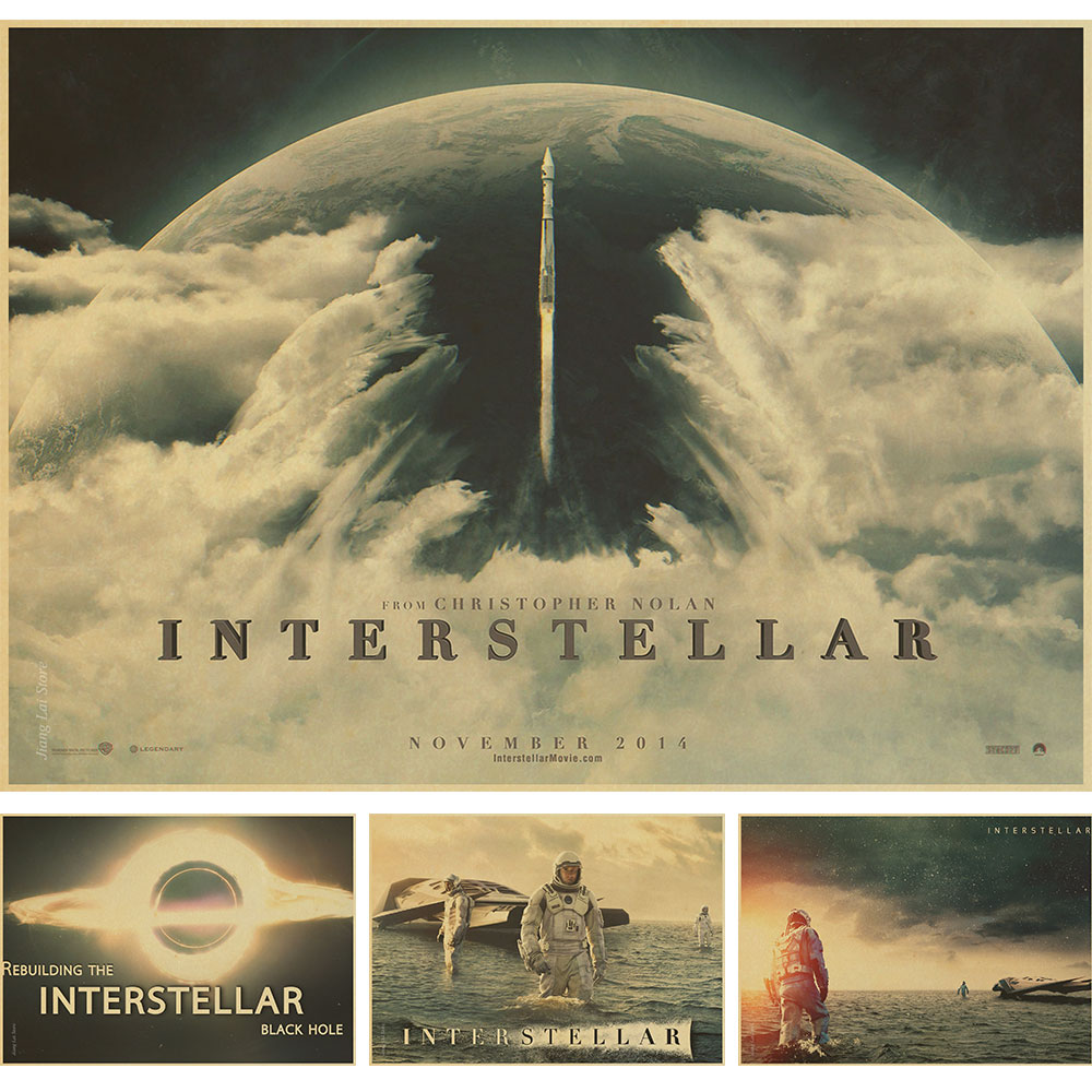 Retro movie poster interstellar kraft paper decorative for Decorative mural painting