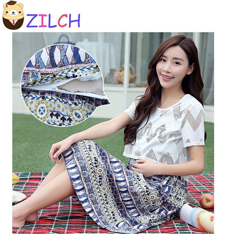 Korean Summer Ethnic Floral Two-pieces Pregnant Women Dress Short Sleeve Pregnant Women Skirt Maternity Round Neck Harness Dress