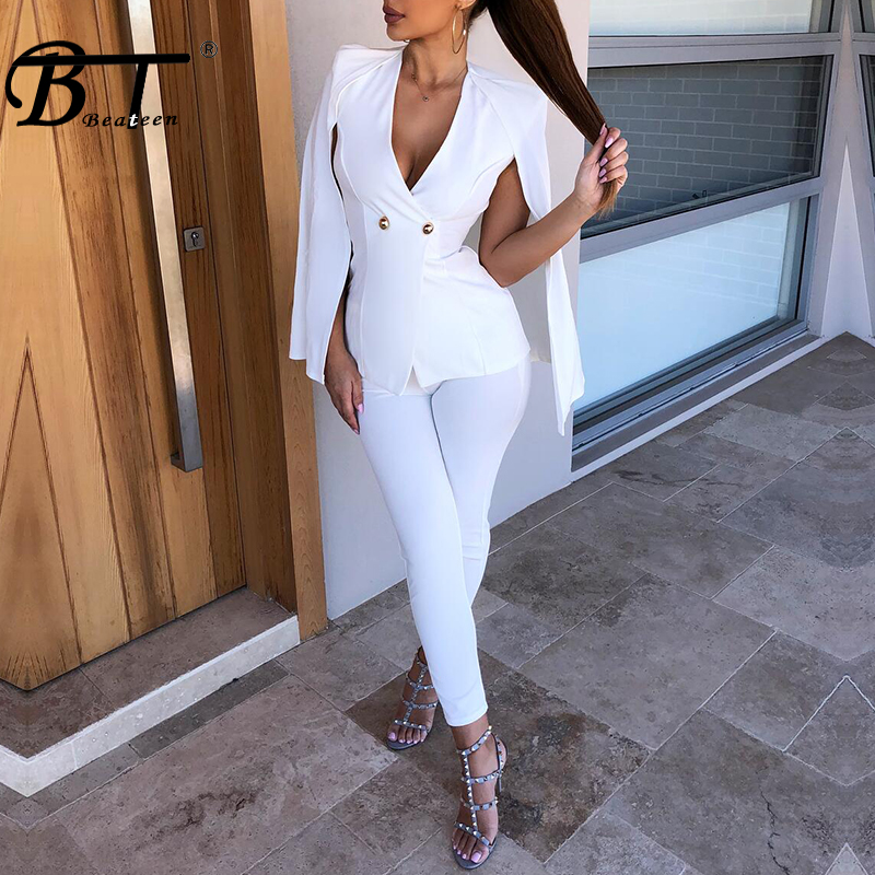 Beateen Cloak Formal Pant Suits Deep V Double Breasted Fashion 2018 New Hot 2 Piece Sets