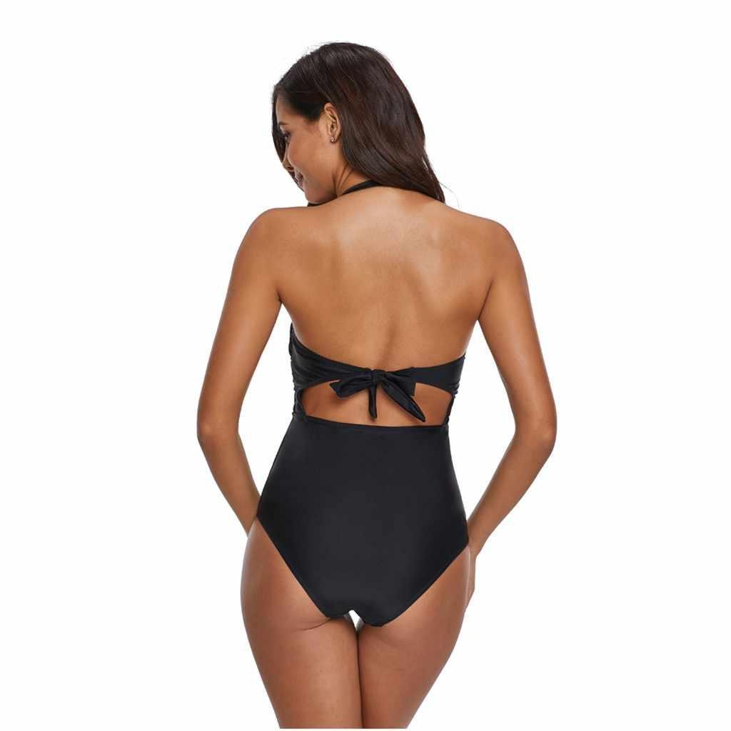 جديد البيكينيات 2020 mujer حجم كبير المرأة قطعة واحدة مجموعة البكيني كتلة اللون ملابس السباحة ملابس الشاطئ الغطاء إسقاط stroje kapielbai