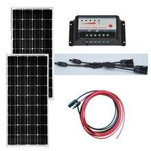 A Grade Monocrystalline Solar Panel 18v 100W 2Pcs 12V Battery Charger Home System 200w Charge Controller 12v/24V 10A
