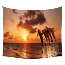 Pumelo Tree Yoga Wall HangingTapestry Dolphins Sunset Fishboat Night Moon Landscape Mandala Home Decor Curtain Sofa Cloth