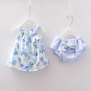 2018 Newborn Baby Girls Clothes Sleeveless Dress+Briefs 2PCS Outfits Set Striped Printed Cute Clothing Sets Summer Sunsuit 0-24M 1