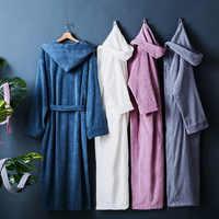 Cinq étoiles hôtel hiver épais pur coton peignoirs vêtements de nuit robes unisexe à manches longues absorbant terry peignoir à capuche pijamas