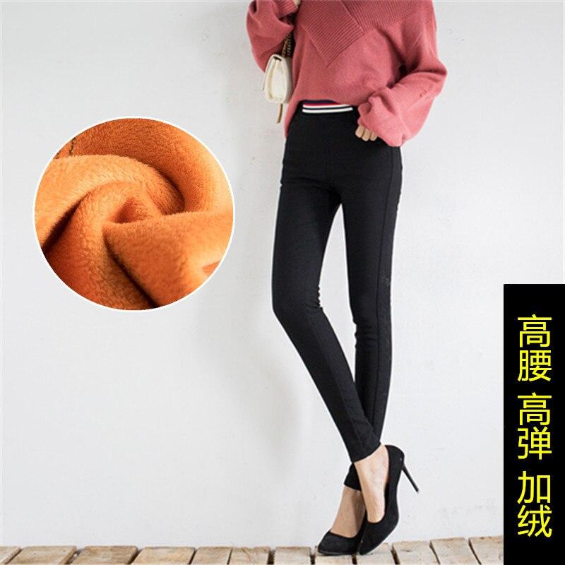 c7374443a8 Pantalones Negro Tamaño Caliente Más Alta Mujer Moda Del Elástico Cintura  El Terciopelo Flaco Oro Lana Lápiz Oversize Grande 4qUwn5pO