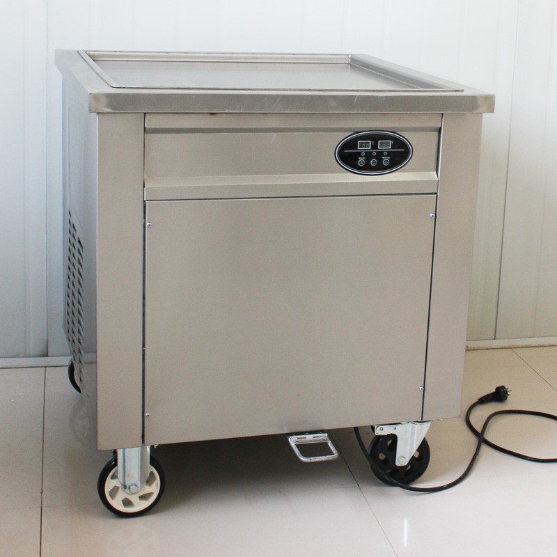 CE single square pan Thailand ice cram  rolls machine , stainless steel Fry ice cream rolls machine,R410A/R404A ice pan machine ce fried ice cream machine 60 60cm pan thailand ice cream roll machine flat pan stainless steel fry ice cream rolls machine