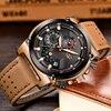 Leather Automatic date Quartz Watche