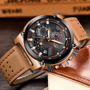 Leather Automatic date Quartz Watche