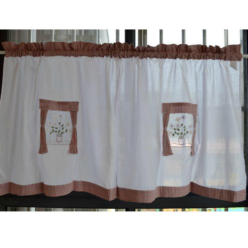 US $8.8 |American country style cloth embroidery short cafe kitchen  curtains blinds finished door window curtain living room rod pocket-in  Curtains ...