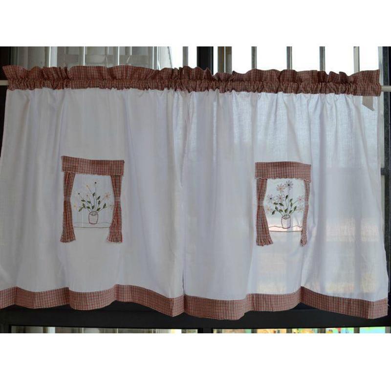 stile country americano panno del ricamo breve cafe cucina tende tende finito porta tenda di finestra