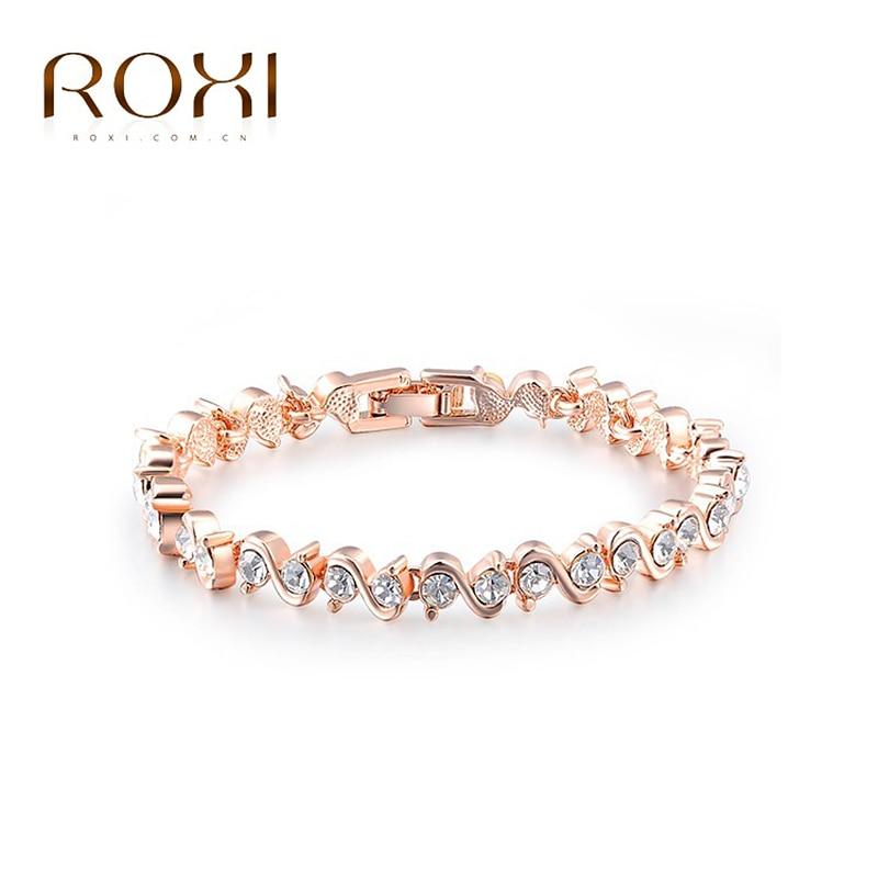 ROXI Bracelets Bangles OL Style Crystal Bracelets White/Rose Gold Fashion Jewelry Women Bracelet Pulseras Mujer Moda 2018