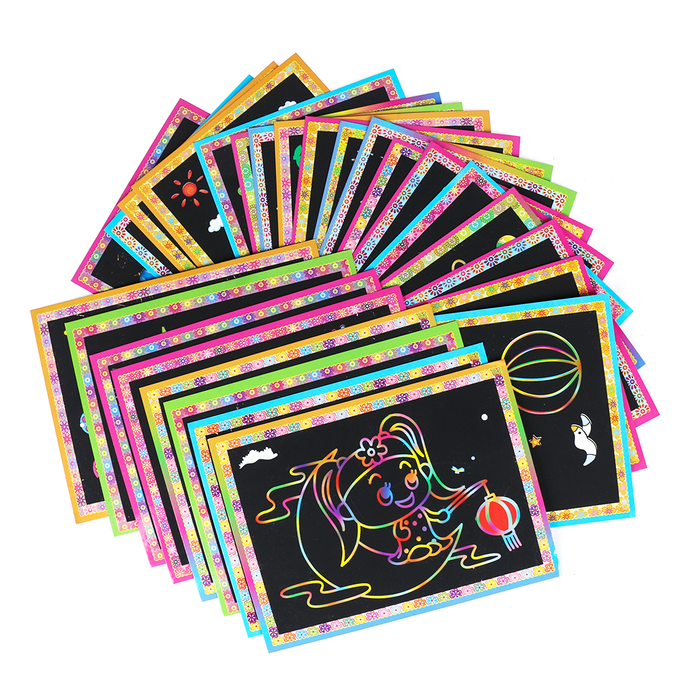 Office & School Supplies Colorful Magic Scratch Drawing Art Painting Paper Notebook Kids Children Educational Learning Stick Toys 12.7cm X 17.2cm Complete In Specifications