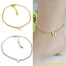 Women Silver Gold Butterfly Chain Slim Anklet Bracelet Foot Jewelry for Summer Beach  4U32