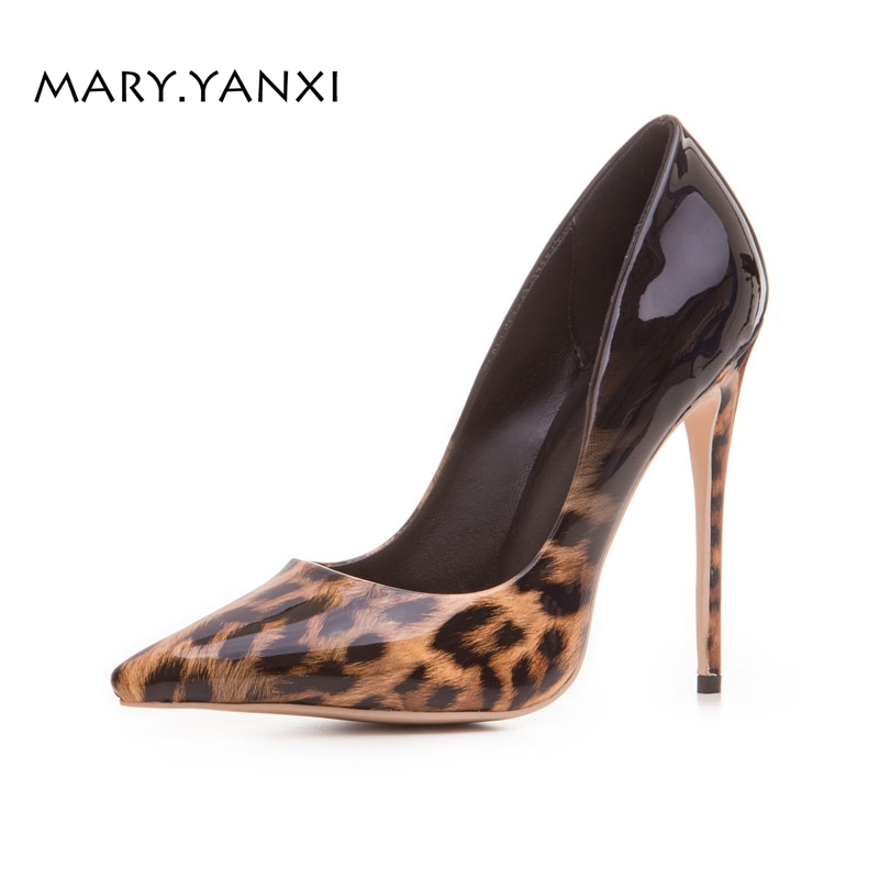 Women Pumps Big Size Shoes Lady Shoes Leopard Super High Thin Heel Pointed Toe Casual Fashion Shallow Slip-on spring autumn women pumps mules shoes patent leather casual fashion slip on pointed toe big size lazy shoes shallow thin heels