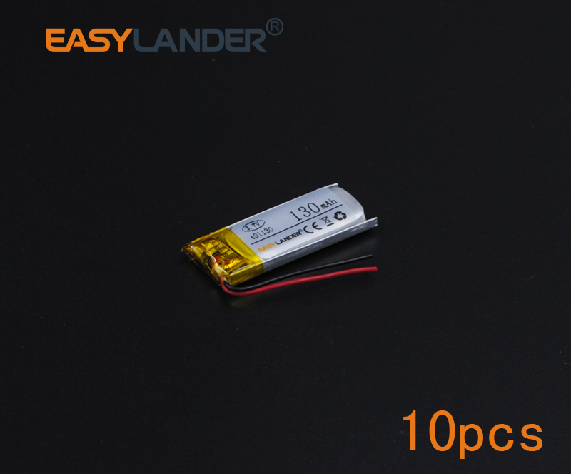 10pcs 3.7V 130mAh Polymer Li-ion Battery For bluetooth headset Bracelet Wrist Watch pen GPS PSP PDA MP3/MP4/Game Playe 401130