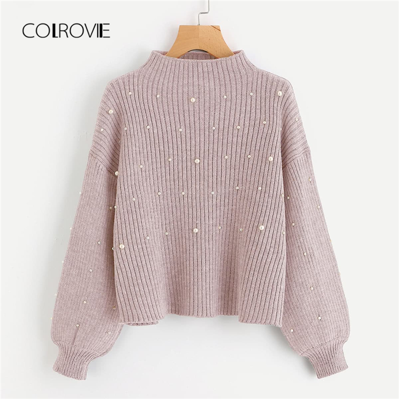COLROVIE Pink Pearl Beads Embellished Exaggerated Bishop Sleeve Winter Korean Sweater 2018 Autumn Fashion Sweet Elegant Pullover