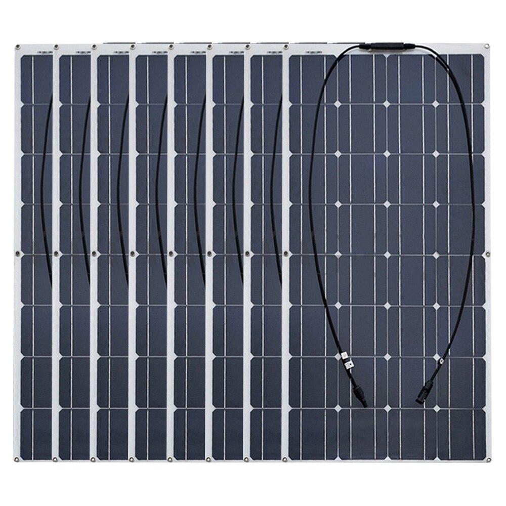 Boguang 8pcs 100W Monocrystalline semi flexible Solar panel 800W cell kits house camping RV yacht Car Roof wall 800 watt