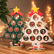 2016 1PC Cute Wooden Christmas Tree Ornament Xmas Hanging Decoration Handmade Garden party decorative lights string R091