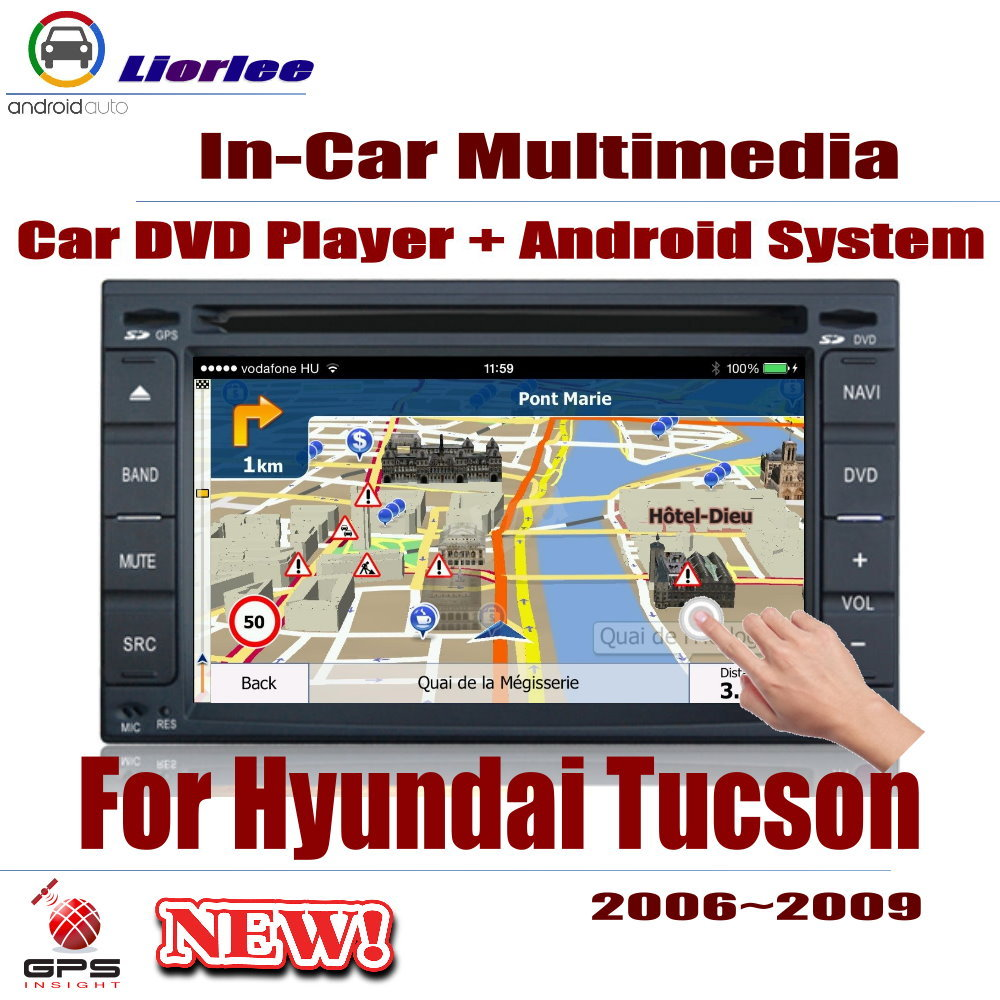 Auto DVD Player GPS Navigation For <font><b>Hyundai</b></font> <font><b>Tucson</b></font> 2006~2009 <font><b>Car</b></font> Android Multimedia System HD Screen <font><b>Radio</b></font> Stereo Head Unit image