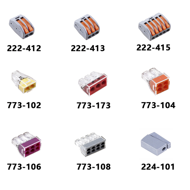 Free Shipping (50 pcs/lot) WAGO mini fast wire Connectors,Universal Compact Wiring Connector,push-in Conductor Terminal Block