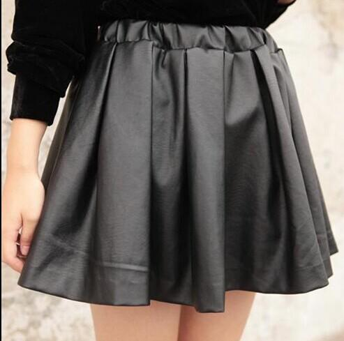 be111a8d19 Fashion Design Women High Waist Short Pleated Skirts Girls Faux Leather  Pleated Mini Black Skirt Plus Size