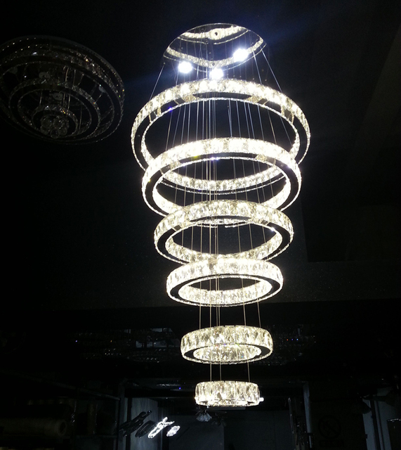 Modern Contemporary Large Crystal Circle 6 Rings Chandelier Luxry Suspension Lamp Lighting Fixture