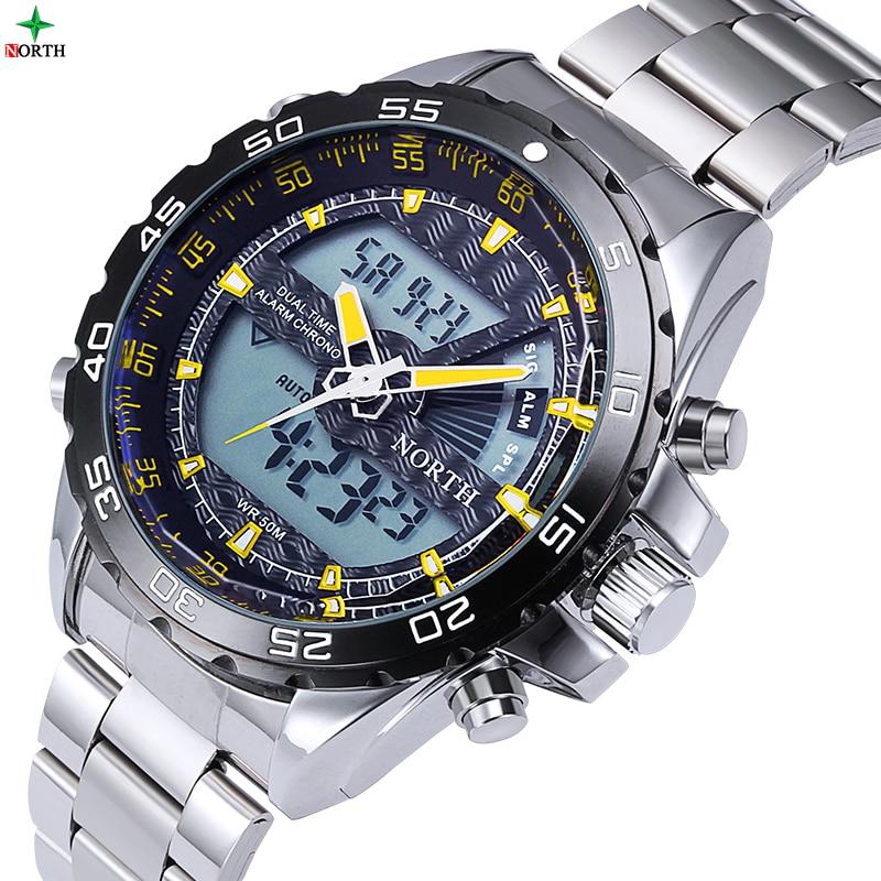Male Sport Watch LED Digital Dual Time Wristwatch Mens Gift 30M Waterproof Top Brand Stainless Steel Fashion Casual Watch Men