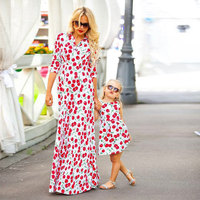 2017 Mother Daughter Dresses Cherry Print Dress Family Matching Outfits Half Sleeve Mother S Dress Sleeveless