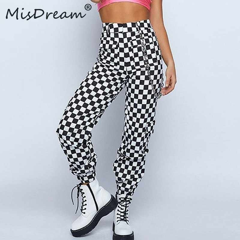 MisDream  Plaid Zipper Checkered Trousers Women Autumn Casual Slim Pockets Loose Pants Black White Sexy Streetwear Womens Pants
