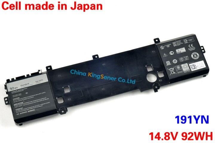 Japanese Cell Genuine Original New 191YN Laptop Battery for DELL Alienware 15 R1 191YN 14.8V 92WH Free 2 Years Warranty original new vfv59 laptop battery for dell latitude e7240 e7250 w57cv 0w57cv wd52h gvd76 vfv59 7 4v 52wh free 2 years warranty