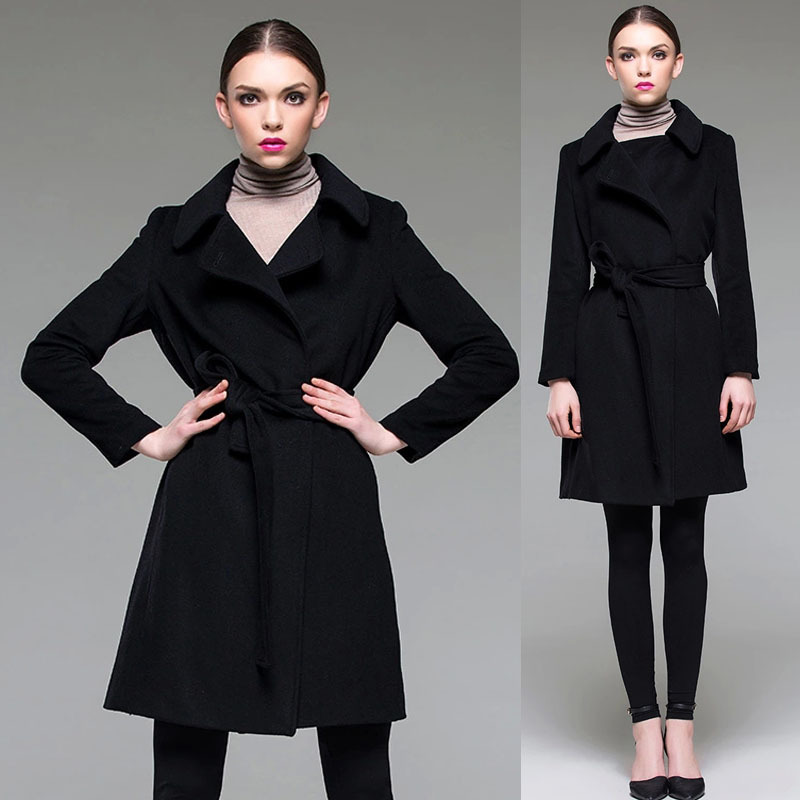 European Style Autumn Spring Elegant Fashion Womens Black Long Woolen Coats , Fall 2015 New Female Ladies Slim Belt Wool Coat  -  Jeanie Deng's store store