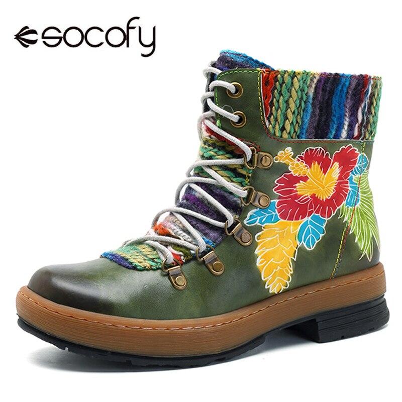 Socofy 보헤미안 발목 부츠 여성화 정품 가죽 꽃 빈티지 지퍼 부츠 겨울 신발 여성 캐주얼 봄 가을 botas-에서앵클 부츠부터 신발 의  그룹 1