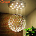 Modern Staircase LED Crystal Chandeliers Lighting Fixture for Hotel Lobby Foyer Ball Shape Rain Drop Pendants