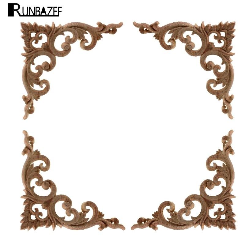 RUNBAZEF Decorative Wood Appliques Carving Frame Furniture Cabinet ...